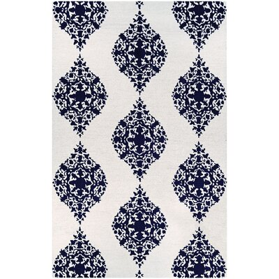 Orkney Ornament Hand-Woven Ivory/Blue Area Rug Rug Size: Rectangle 35 x 55