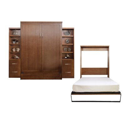 Quinn Queen Murphy Bed with 2 Drawer Bookcase Color: Nutmeg