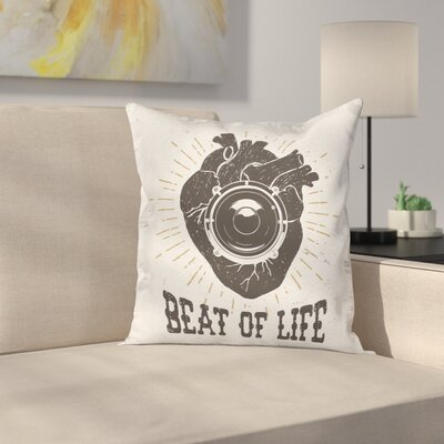 Beat Grunge Quote Art Square Pillow Cover Size: 16 x 16