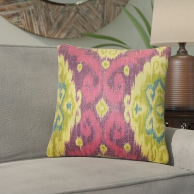 Bettembourg Ikat Throw Pillow Cover Color: Pink Purple