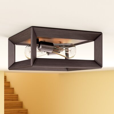 Thorne 2-Light Metal Flush Mount Finish: Gunmetal Bronze