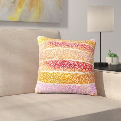 Leafs from Paradise by Pom Graphic Design Outdoor Throw Pillow Color: Yellow/Red