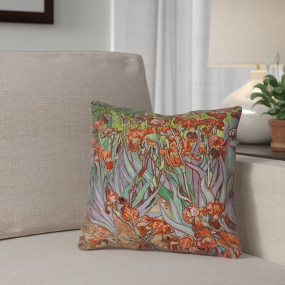 Morley 14 x 14 Irises in Green and Blue Pillow - Spun Polyester Double sided print with concealed zipper & Insert Color: Orange, Size: 16 x 16