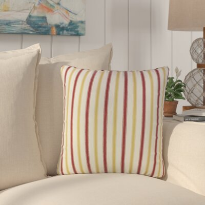 India Striped Down Filled 100% Cotton Throw Pillow Size: 18 x 18, Color: Yellow/Red