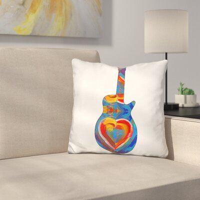 Guitar Heart Brush Throw Pillow
