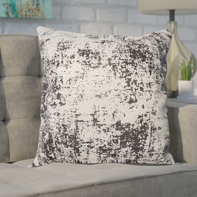 Biscoe Distressed Metallic Throw Pillow Color: Black