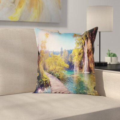 Idyllic Lake Waterfall Cushion Pillow Cover Size: 18 x 18