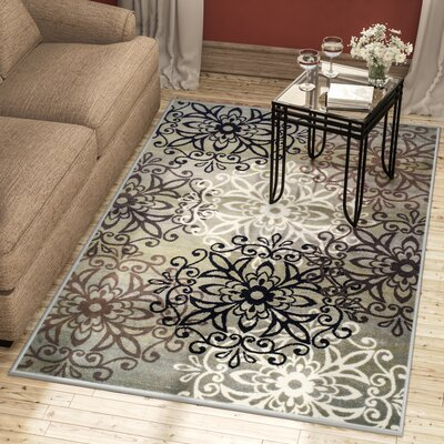 Abernathy Blue/Ivory Area Rug Rug Size: Rectangle 4 x 6