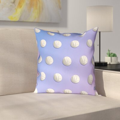 Volleyball 100% Cotton Pillow Cover Size: 18 x 18, Color: Blue/Purple