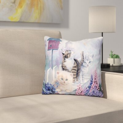 Cats in Front of the Birdfeeder Throw Pillow
