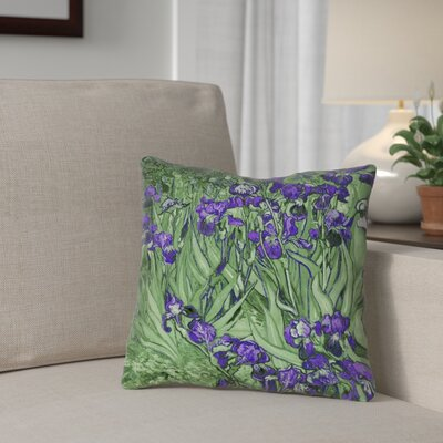 Morley Irises Square 100% Cotton Pillow Cover Color: Green/Purple, Size: 14 x 14