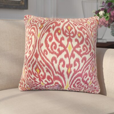 Arcelia Ikat Cotton Throw Pillow Color: Cranberry