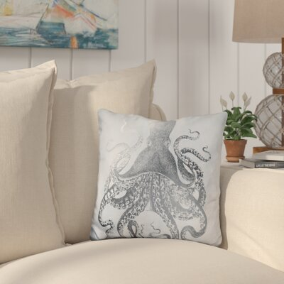 Buse Silver Foil Octopus on Blue Wash Throw Pillow