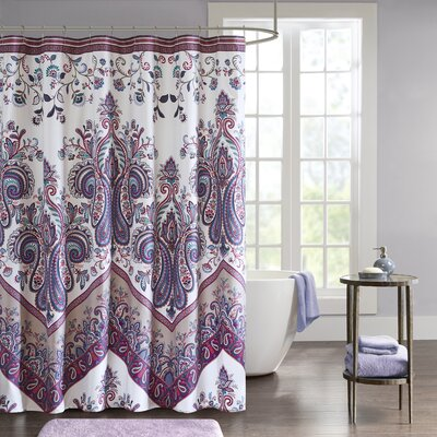 East Rolstone Printed Shower Curtain Color: Purple