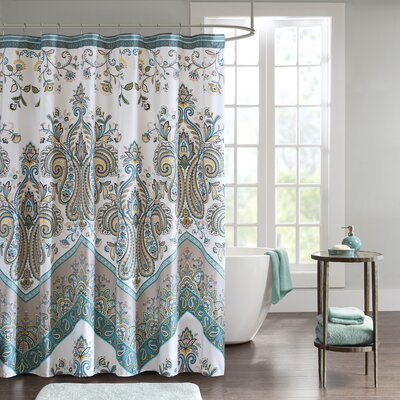 East Rolstone Printed Shower Curtain Color: Teal