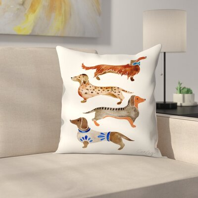 Cat Coquillette Dachshunds Throw Pillow Size: 14 x 14