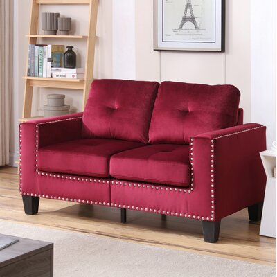 Caceres Loveseat Upholstery: Maroon