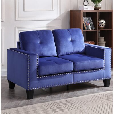 Caceres Loveseat Upholstery: Navy Blue