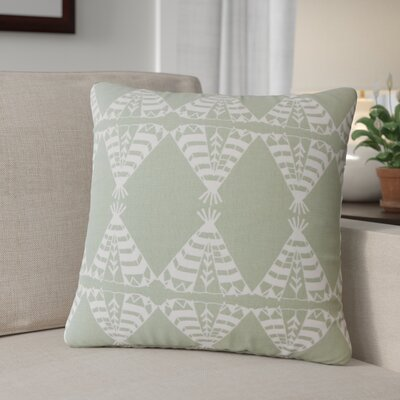 Roi Graphic Cotton Throw Pillow Color: Light Green
