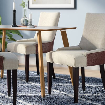 Alpha Centauri Upholstered Side Chair in Linen / Leather - Biege with Carpenter Nailheads Color: Pickled Oak