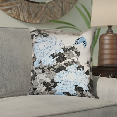 Clair Peonies and Butterfly Square Linen Pillow Cover Size: 18 H x 18 W, Color: Gray/Blue
