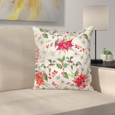 Modern Floral Graphic Print Pillow Cover with Zipper Size: 18 x 18