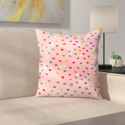 Paula Mills Rainbow Dotty Heart Throw Pillow Size: 18 x 18