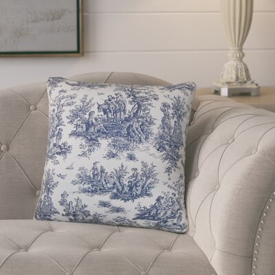 Andruska Toile Cotton Throw Pillow Color: Blue