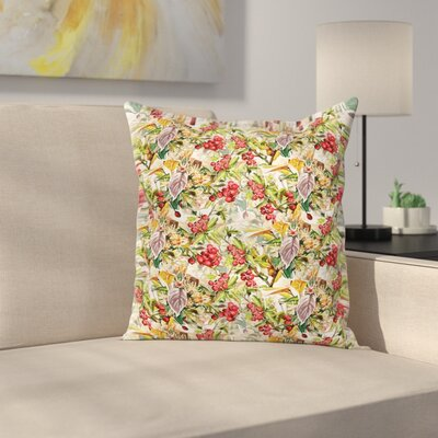 Flower Berries Rustic Art Square Pillow Cover Size: 20 x 20