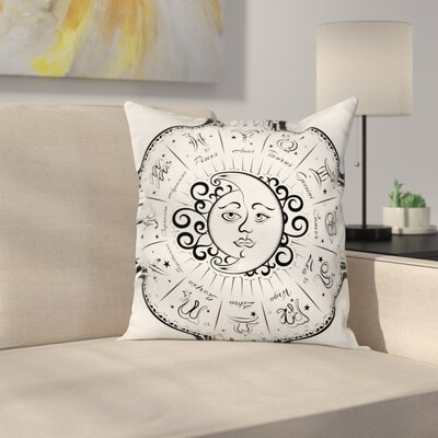 Planets Astrology Moon Sign Square Pillow Cover Size: 20 x 20