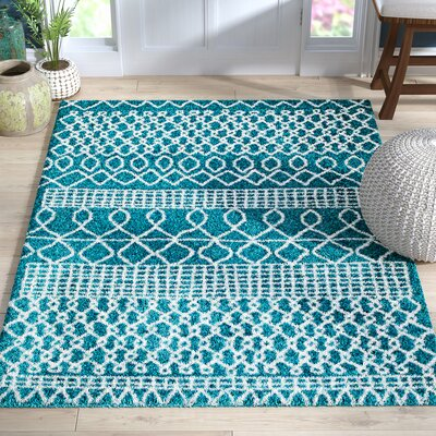 Bolt Geometric Teal/Turquoise Area Rug Rug Size: 5 x 7