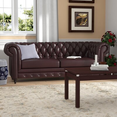 Kacper Leather Chesterfield Sofa Upholstery: Brown