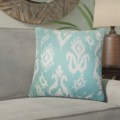 Taha Ikat Cotton Throw Pillow Color: Blue