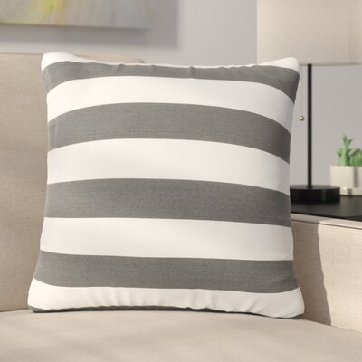 Mayne Square Striped Outdoor Throw Pillow Color: Black/White