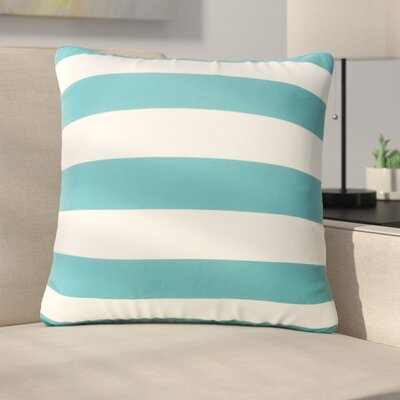 Mayne Square Striped Outdoor Throw Pillow Color: Dark Teal/White