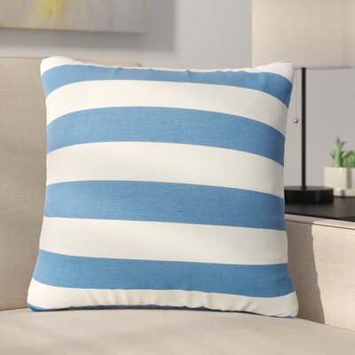 Mayne Square Striped Outdoor Throw Pillow Color: Blue/White