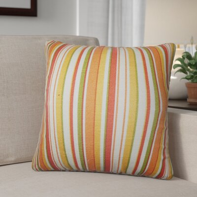 Pemberton Stripes Cotton Throw Pillow Color: Orange, Size: 24 x 24