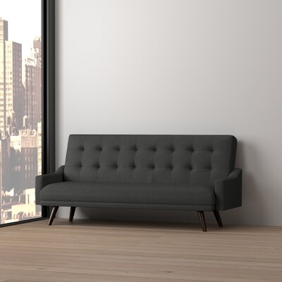 Cottrill Click Clack Futon Sofa Bed Upholstery: Charcoal Black/Tan