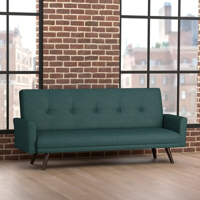 Cantrell Click Clack Futon Sofa Bed Upholstery: Peacock Blue