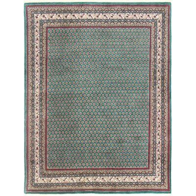 One-of-a-Kind Hand-Woven Wool Teal Area Rug