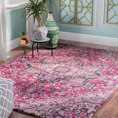 Thadine Pink Oriental Area Rug Rug Size: Rectangle 53 x 76