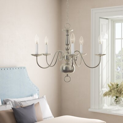 Brookville 5-Light Candle-Style Chandelier Finish: Brushed Nickel