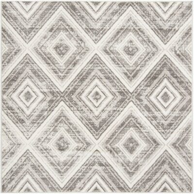 Coghill Gray/Ivory Area Rug Rug Size: Round 67