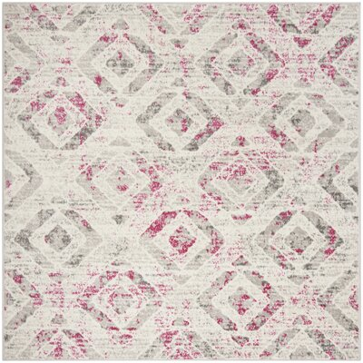 Cohan Ivory/Pink Area Rug Rug Size: Square 67