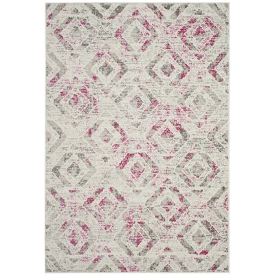 Cohan Ivory/Pink Area Rug Rug Size: Rectangle 4' x 6'