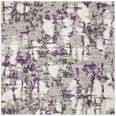 Cohen Ivory/Purple Area Rug Rug Size: Square 67