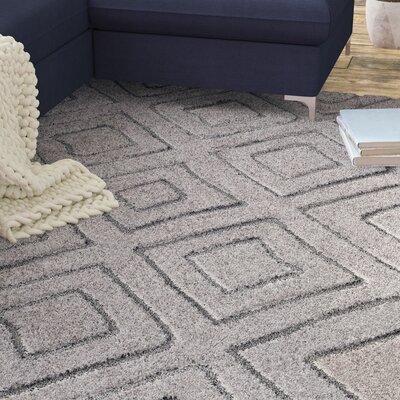 Marketfield Soft Geometric Shag Gray Area Rug Rug Size: Rectangle 53 x 73