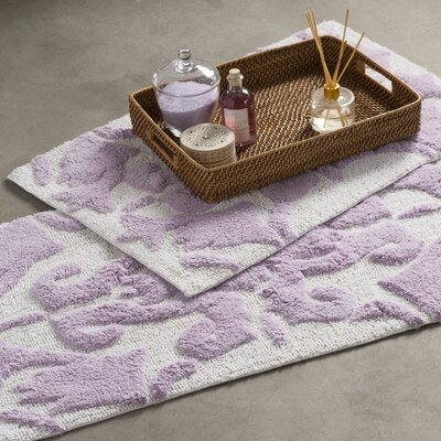 Kaori 2 Piece Bath Rug Set Color: White / Lilac