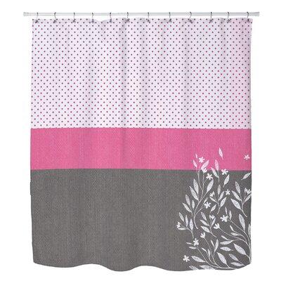 Zepeda Floral Dot Stripe Shower Curtain