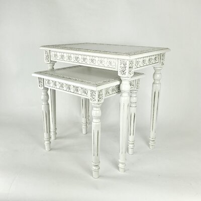 2 Piece Nesting Tables Color: White